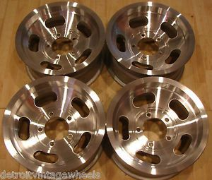 "15x7 Factory Jeep CJ5 CJ7 Aluminum Slot Mag Wheels Rims 5x5 5"" 4 25 Hub"