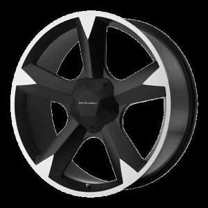 "24"" x 9 5"" KMC 674 Clone Black Tahoe Express Suburban Wheels Rims"