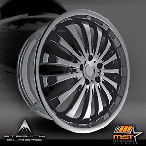 20x7 5 Black Chrome MST 593 Wheels 4x100 42 Chevrolet Geo Prizm Cobalt 4 Lug
