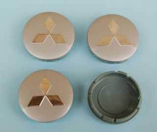 Mitsubishi Metal Wheel Center Caps Universal Set 4pcs for All 60mm Models