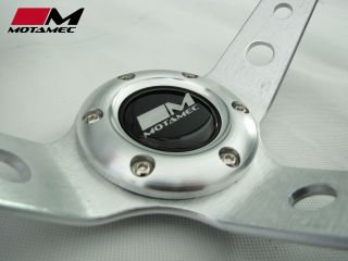 Motamec Rally Steering Wheel 350mm Deep Dish Suede Silver OMP Sparco Fitting