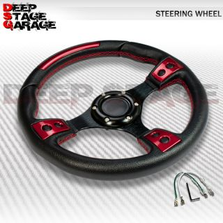 Universal 6 Bolt Aluminum Frame 320mm Racing Steering Wheel Black Red Decoration