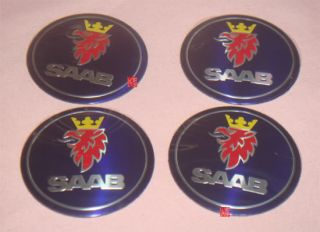 4 Saab Car Wheel Center Hub Cap Emblem Decal Sticker