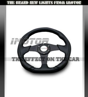 350mm Universal PVC Leather Black Jet Sport JDM Racing Steering Wheel
