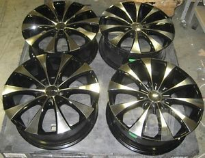 "Lot of 4 KMC KM679 Fader Wheels 20""x8 1 2"" 5x112mm Glossy Black with Chrome"