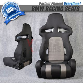 BMW Euro Sport Style Cloth Black Racing Seats w Black Stitch Pair