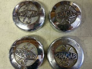 4VINTAGE 1960's Muscle Car Cragar SS Super Sport Mag Wheel Chrome Center Caps
