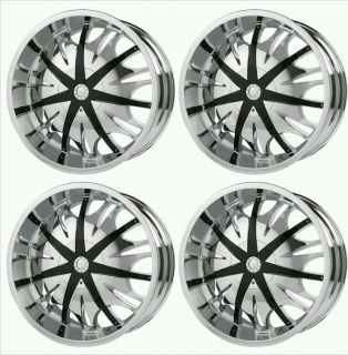 "4 22x9 5"" Verde Sinister Chrome Wheels Rims 5x150 35 Tundra Lexus SUV Demo 22"