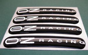 4 Domed oz Racing Wheel Rim Stickers Black Silver
