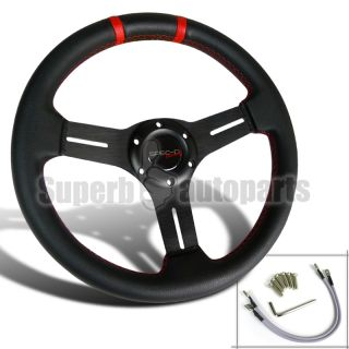 "2"" Dish PVC Leather Drifting Racing Steering Wheel Red Trim"