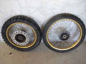 Maico 1981 Akront 18 21 inch 36 Spoke Aluminum Wire Rims Wheels with Tires