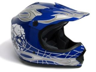 Youth Blue Silver Skull Motorcross Dirt Bike Motocross Off Road MX Helmet s M L