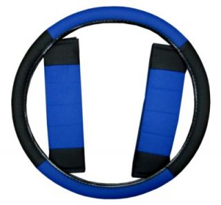 Blue Black Car Seat Covers Set w Steering Wheel Cover Belt Shoulder Pads 4