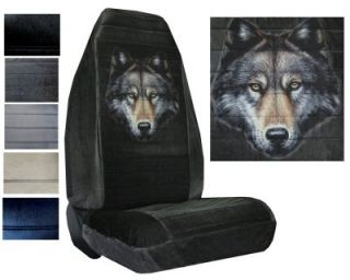 Velour Seat Covers Car Truck SUV Wolf Face High Back PP X