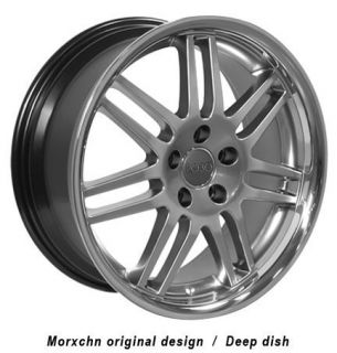 "18"" Hyper Silver RS4 Deep Wheels Set of 4 Rims Fit Audi A4 A6 A8 Allroad"