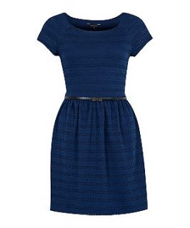 Blue Lace Belted Cap Sleeve Dress