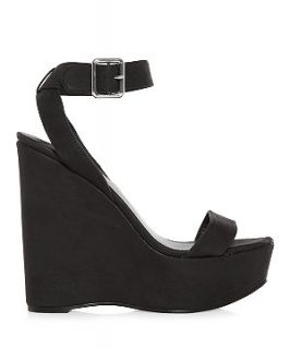 Black Leather Ankle Strap Wedge Sandals