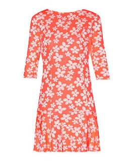 Meme Orange 3/4 Sleeve Floral Print Tie Back Drop Waist Dress