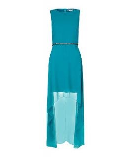 Turquoise Sleeveless Dip Hem Belted Dress