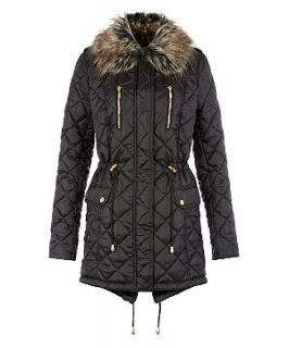 Miss Real Black Quilted Faux Fur Trim Parka
