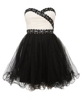 Chi Chi Black Lace Trim Strapless Prom Dress