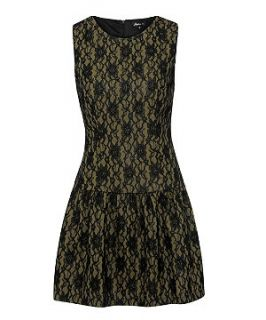 Atelier 61 Khaki and Black Lace Drop Waist Dress