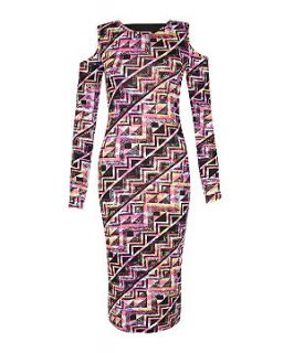 147 Fashion Pink Cut Out Shoulder Aztec Print Midi Dress