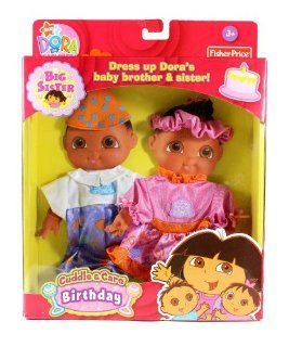 "Fisher Price Year 2007 Nick Jr ""Dora the Explorer Big Sister"" Dress Up Outfit   Cuddle and Care Birthday Outfits with Headband and Hat for Dora's Twins Brother and Sister (Doll Sold Separately) Toys & Games"