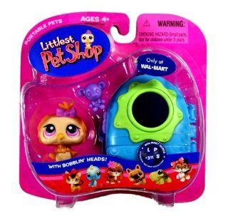 "Hasbro Year 2007 Littlest Pet Shop Portable Pets Exclusive ""Wal Mart"" Series Bobble Head Pet Figure Set #311   Tan Baby Owl with Toy Bear and Cozy Carrier (22979) Toys & Games"