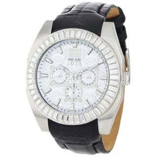 Marc Ecko Men's Black Leather Strap Silver Dial Watch Marc Ecko Men's Marc Ecko Watches