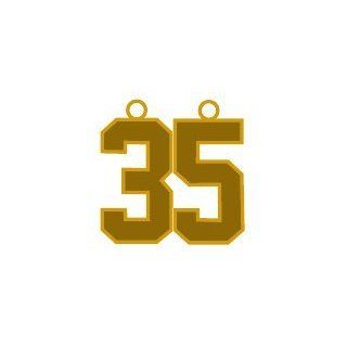 "Number 35 Jersey Style Sports Necklace Charm Pendant #35 (0.8"" Tall   Standard Size) GOLD PLATED Perfect For Football, Baseball, Basketball, Soccer, Hockey, Softball, Volleyball, Lacrosse & More Jewelry"
