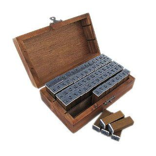 Gem 3.8*1.2*0.9cm 70pcs Rubber Stamps Set Vintage Wooden Box Case Alphabet Letters Number Craft Arts, Crafts & Sewing