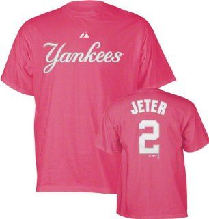 Derek Jeter Girls 7 16 Raspberry Pink Name and Number New York Yankees T Shirt  Athletic T Shirts  Sports & Outdoors