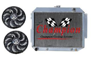 "3 Row Aluminum Replacement Radiator AND 12"" Reversible Dual Fans for 1967 1970 Chrysler 300, 1970 Chrysler NewPort, 1968 1970 Chrysler Town & Country, 1966 1970 Chrysler New Yorker, 1967 1970 Chrysler Imperial,1967 1970 Plymouth Fury, 1966 1970 Do"