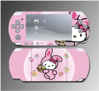Cute Kitty Pink Easter Bunny Egg Girl Gift Game Vinyl Decal Sticker Cover Skin Protector #3 for Sony PSP Slim 3000 3001 3002 3003 3004 Playstation Portable Video Games