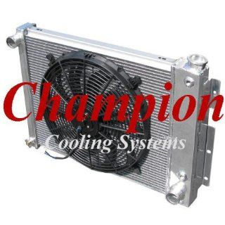 "3 Row All Aluminum Replacement Radiator AND 16"" Reversible Fan for the 1967 69 Chevy Camaro (SMALL BLOCK), 1967 69 Pontiac Firebird/Trans Am   Manufactured by Champion Cooling Systems, Part Number 337FAN Automotive"