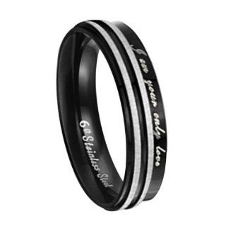 "JewelryWe Fashion Black Stainless Steel Couple Promise Ring with ""You Are My Only Love"" Men's Ladies Anniversary Love Ring (6mm) Jewelry"