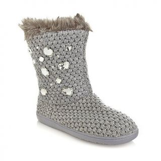 Joan Boyce Woven Faux Fur Lined Boot with Jewels
