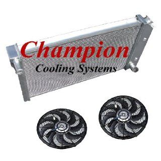 "4 Row All Aluminum Replacement Radiator AND 2 12"" Reversible Fans with Fan Mounting Kits for the 1977 1983 Chevy Corvette, Corvette Direct Fit Radiator, 350ci V8   Manufactured by Champion Cooling Systems, Part Number MC718FAN Automotive"