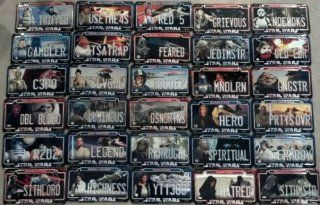 COMPLETE SET   ALL 30 Star Wars 2011 Power Plates   30 Authentic Metal Mini StarWars License Plates with Magnetic Backs. Toys & Games