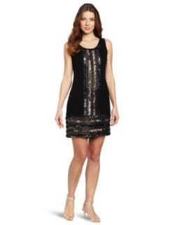 Adrianna Papell Women's Sleeveless Fully Beaded Sheath Dress, Black/Copper, 2 Clothing