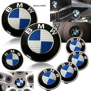1988 1999 BMW E31 840 850 Carbon Blue Emblems with Wheel Caps Set Automotive