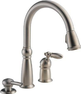 Delta 16955 SSSD DST Victorian Single Handle Pull Down Kitchen Faucet with Soap Dispenser, Stainless
