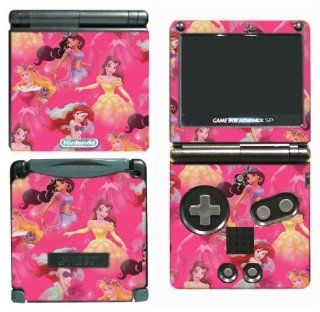 Princess Friends Cinderella Belle Jasmine Mulan Sleeping Beauty Ariel Cartoon Girls Kids Children Cartoon Movie Gift Video Game Vinyl Decal Cover Skin Protector for Nintendo GBA SP Gameboy Advance Game Boy Video Games