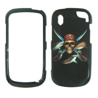 Pantech Hotshot 8992   Verizon Pirate Skull Swords and Fish on Black Shinny Gloss Finish Hard Plastic Cover, Case, Easy Snap On, Faceplate. Cell Phones & Accessories