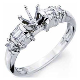 14Kt White Gold Contemporary Diamond Engagement Ring, Semi Mount Setting Jewelry