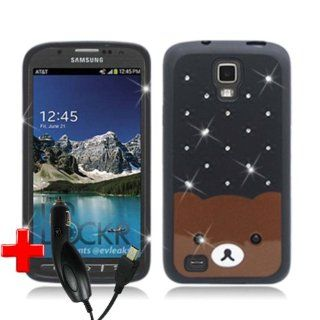 Samsung Galaxy S4 ACTIVE i537 i9295 (AT&T) One Piece TPU Rubber Border Plastic/Rhinestone Teddy Bear Cover, Black + CAR CHARGER Cell Phones & Accessories