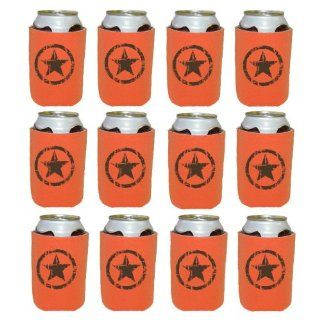 Mashed Mugs   Brown Distressed Star   12 Pack Collapsible Scuba Foam Can Coolers/Coolies (Orange) Kitchen & Dining