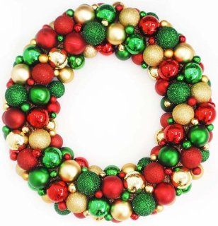 "24"" Shades of Red, Green & Gold Shatterproof Christmas Ball Ornament Wreath"