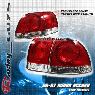 Honda Accord 4Dr Tail Lights JDM Euro Red Clear Taillights 1996 1997 96 97 Automotive